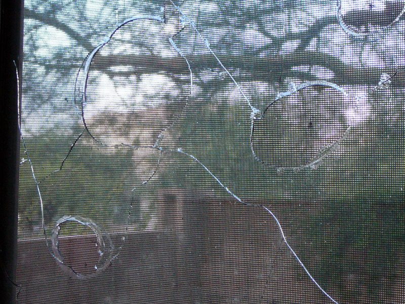 Impressive damage to the outer layer of glass.